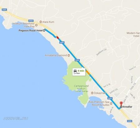 Путь от Pegasos Royal до деревни Авсалар