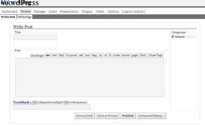 Интерфейс WordPress 1.5 2005 год