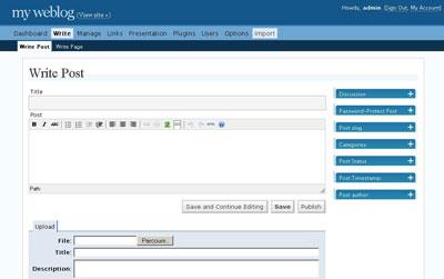 Интерфейс WordPress 2.0 канун 2006 года